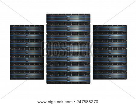 Three Server Racks With Equipment, Data Center Icon, On White Background, Eps 10 Contains Transparen