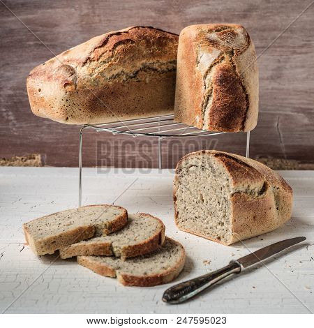 Poppy Seeds Spelt Bread With Visible Crumb