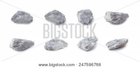 Collection Of Rock Isolated On White Background. Gray Stone Isolated