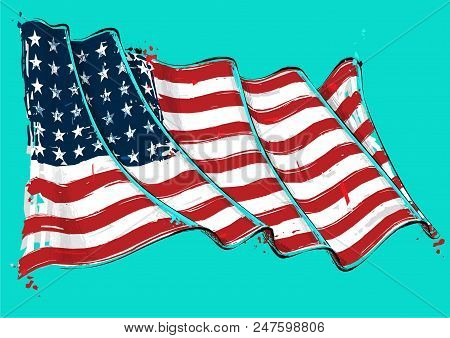 Vector Grange Illustration Of A 48 Star American Waving Flag. This Was The Usa Flag During Wwi, Wwii