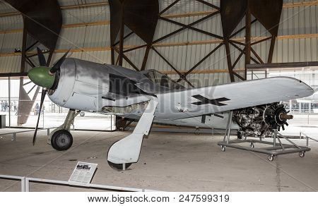 Le Bourget, Paris, France- May 04,2017: Focke-wulf Fw 190 Type A8 V1 (1939) Germany In The Museum Of