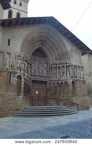 Entrance To The Church Of San Bartolome In Logroño. Architecture, History, Art, Travel. December 27,