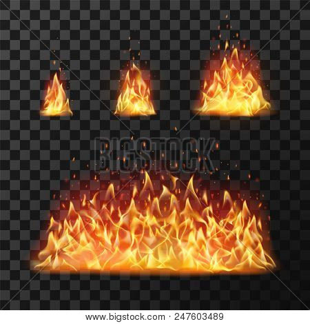 Burning Fire Flames Or Hot Flaming Blaze Fireball. Blazing Fires Symbol Or Red Cartoon Forest Campfi