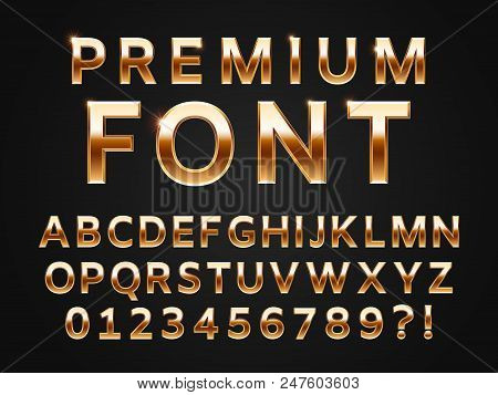 Glossy Gold Typeface, Shine Alphabet Letters Collection For 3d Premium Text Design Icon Type. Golden