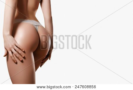 Perfect Slim Toned Young Body Of The Girl. Sports, Fitness, Plastic Surgery And Aesthetic Cosmetolog