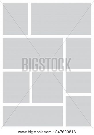 Templates Collage Frames For Photo Or Illustration. Montage Photo Frame Template. Vector Mood Board
