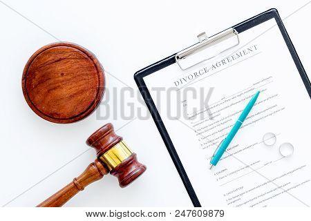 Divorce Court Case. Divorce Agreement Near Wedding Rings And Judge Gavel On White Background Top Vie