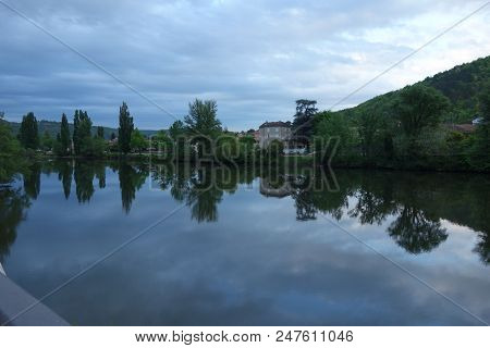 A Water River In A Season Non-urban Scene.