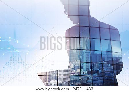 Double Exposure Of Businessman Shape With Megapolis View Illustration And Digital Forex Chart With G