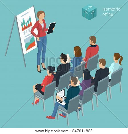 Flat Design Isometric Vector Illustration Of Personnel Training. Business Employee  Coaching  Presen