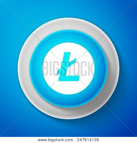 White Cryptocurrency Coin Litecoin Ltc Icon Isolated On Blue Background. Digital Currency. Altcoin S