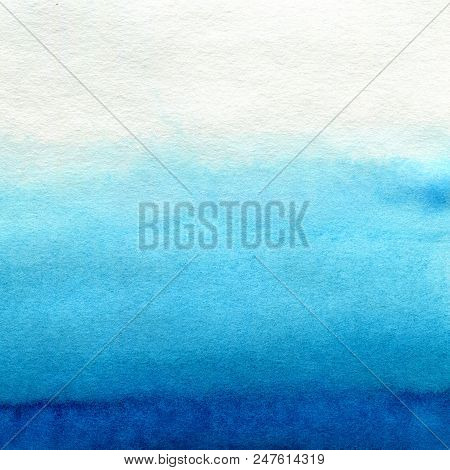 Hand Painted Blue Watercolor Background. Watercolor Wash. Blue Brush Strokes Background Design Isola