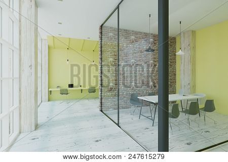 Modern Eco Style Conference Room With Brick And Glass Walls In Light Office With Floor-to-ceiling Wi