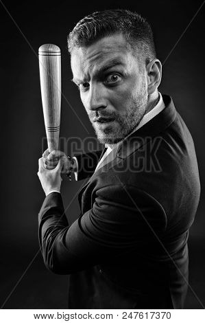 Businessman With Baseball Bat In Hands, Aggression Concept. Bearded Man In Formal Suit. Man With Bru
