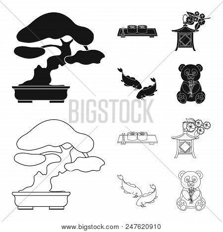 Sushi, Koi Fish, Japanese Lantern, Panda.japan Set Collection Icons In Black, Outline Style Vector S
