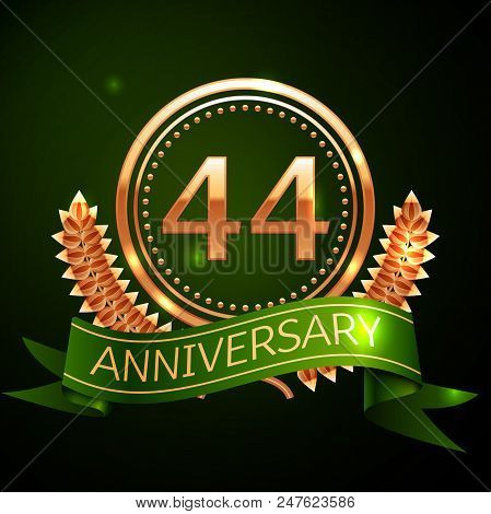 Realistic Forty Four Years Anniversary Celebration Design With Golden Ring And Laurel Wreath, Green