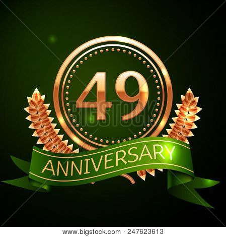 Realistic Forty Nine Years Anniversary Celebration Design With Golden Ring And Laurel Wreath, Green