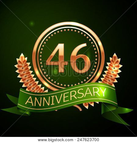 Realistic Forty Six Years Anniversary Celebration Design With Golden Ring And Laurel Wreath, Green R