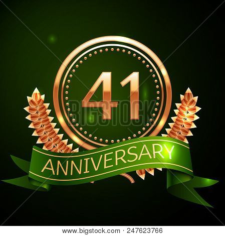 Realistic Forty One Years Anniversary Celebration Design With Golden Ring And Laurel Wreath, Green R