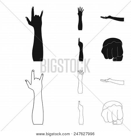 Sign Language Black, Outline Icons In Set Collection For Design.emotional Part Of Communication Vect