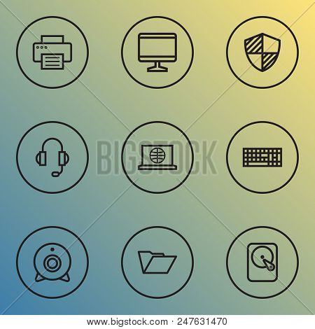 Computer Icons Line Style Set With Print, Monitor, Headphones And Other Protect  Elements. Isolated