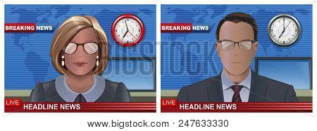 Breaking News Banners Set With Male And Female Speakers In The Studio. Man And Woman Silhouettes New