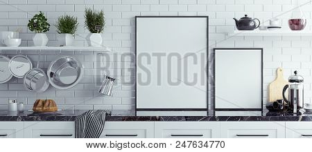 Mock Up Poster Frame In Kitchen Interior, Scandinavian Style, Panoramic Background, 3d Illustration