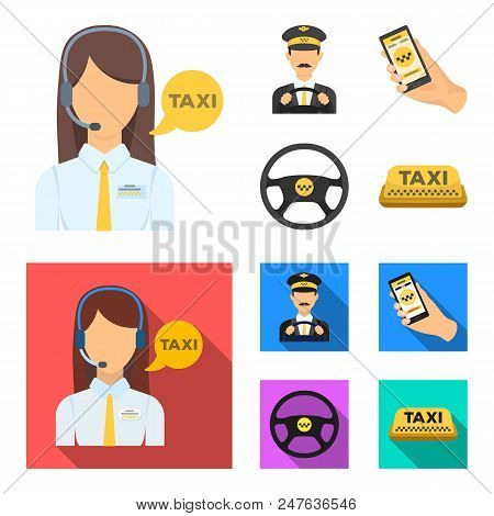 A Taxi Driver With A Microphone, A Taxi Driver At The Wheel, A Cell Phone With A Number, A Car Steer