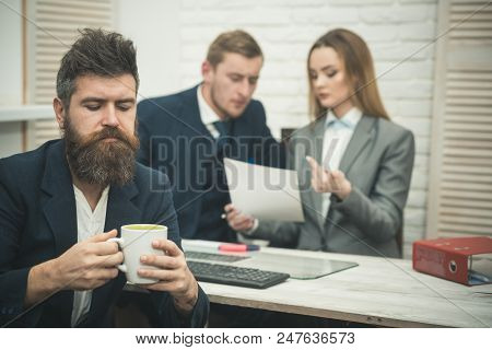 Business Partners Or Businessman At Meeting, Office Background. Business Negotiations, Discuss Condi