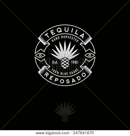 Blue Agave Icon. Tequila Or Mescal Logo. Emblem For The Label. Engraving Style Agave Icon With Lette
