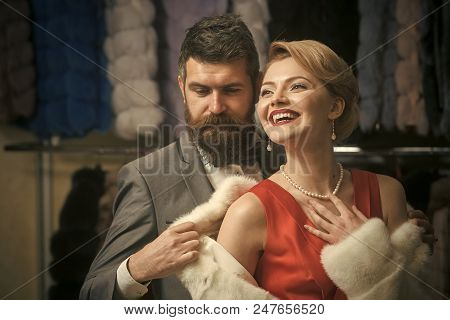 Vip Couple. Couple In Love Among Fur Coat, Luxury. Business Meeting, Moneybags. Fashion And Beauty,