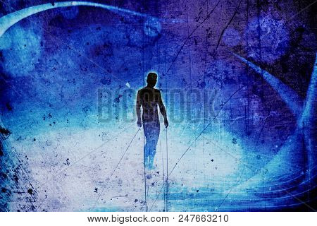 conceptual image of abstract structural light manipulation and silhouetted man