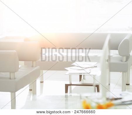 Business And Financial Documents On The Table In The Bank Office.photo With Copy Space