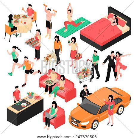 Daily Routine Man And Woman Isometric Set Couple During Eating Work Shopping And Sleep Isolated Vect