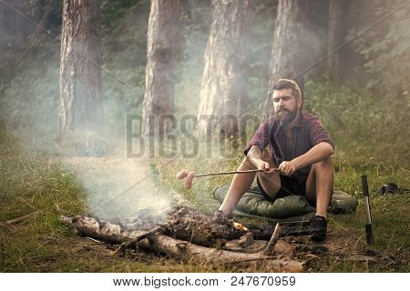 Holiday Camp. Man Traveler Roast Sausages On Stick On Campfire In Forest. Summer Camping, Hiking, Va