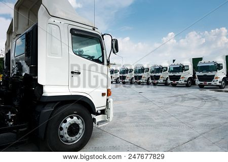 New Truck Fleet Is Parking At Yard With Bewutiful Sky.