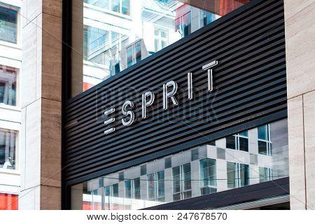 Berlin, Germany - June 2018: The Esprit Logo On Store Exterior / Shop Facade  In Berlin, Germany