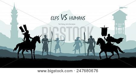 Black Silhouette Of Battle Humans And Elfs. Fantasy Landscape. Medieval 2d Panorama. Knights And War