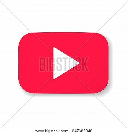 Red button video player Social media YouTube. Vector illustration. EPS 10