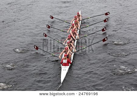 University of Oklahoma women's Eights races in the Head of Charles Regatta