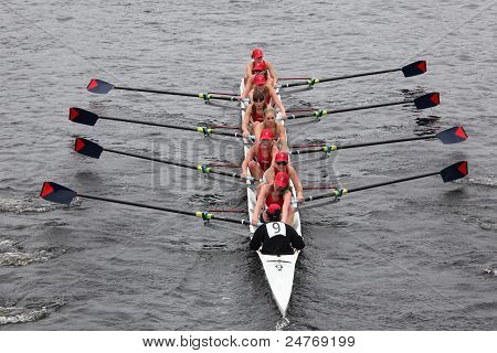 University Of Pennsylvania Crew women's Eights races in the Head of Charles Regatta