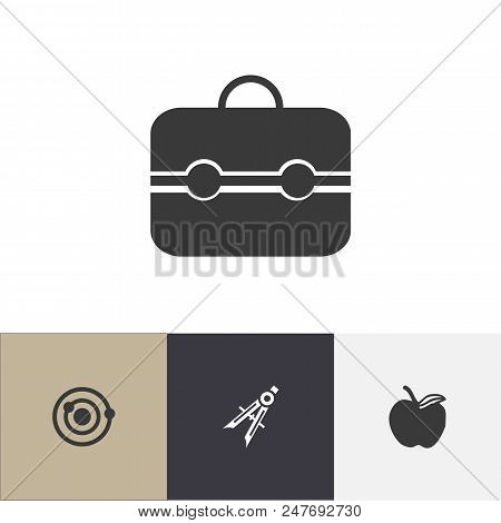 Set of 4 editable education icons. Includes symbols such as suitcase, physics, divider and more. Can be used for web, mobile, UI and infographic design. poster
