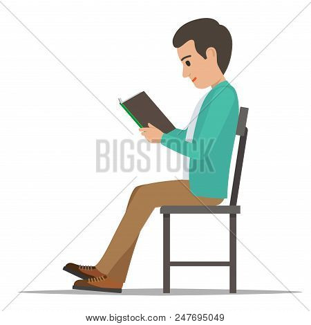 Young Man Reading Textbook. Brown-haired Male Student Seating On Chair With Book In Hands Flat Vecto