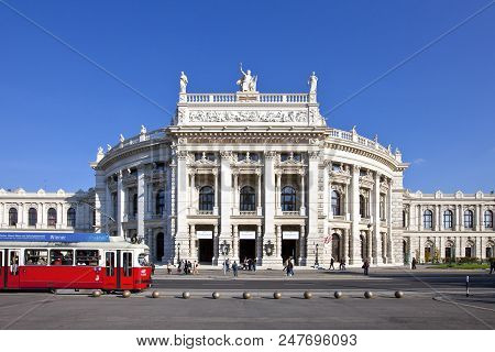 Vienna, Austria - October 8, 2010: Historic Burgtheater (court Theatre) At The Famous Wiener Ringstr