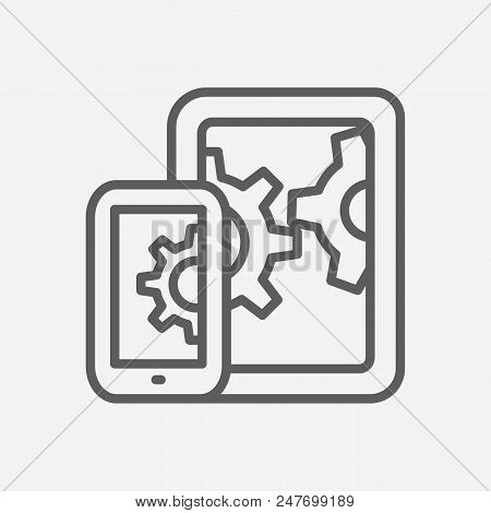 Mobile Seo Icon Line Symbol. Isolated  Illustration Of  Icon Sign Concept For Your Web Site Mobile A