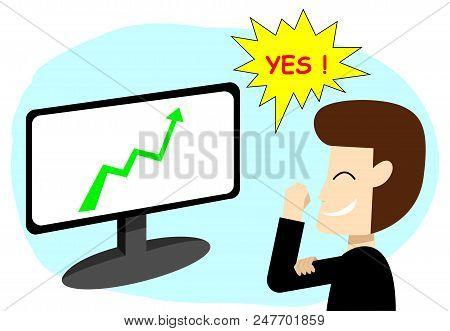 Successful Businessman In Stock Market, Vector Art  Design