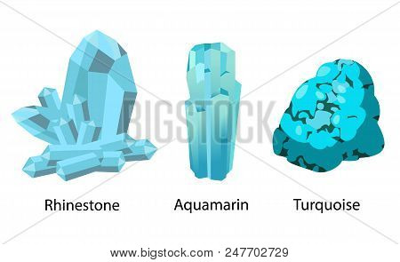 Rhinestone aquamarine turquoise valuable precious blue stones set isolated vector. Crystals and minerals gems, geological rocks realistic design poster