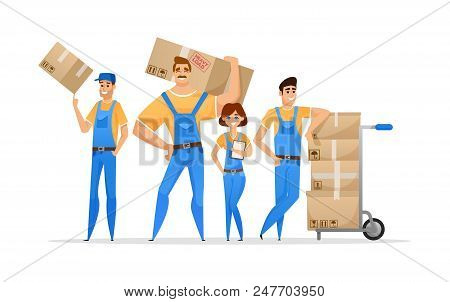 Cartoon Loaders Movers Team With Cardboard Boxes. Moving And Delivery Company Concept. Vector Illust