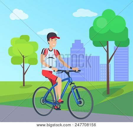 Smiling Man On Blue Bike Vector Illustration, Colorful Banner With City Landscape, Two Green Trees A