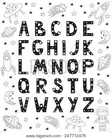 English Alphabet For Kids In Scandinavian Style. Poster With Space Doodles And Letters. Vector Illus